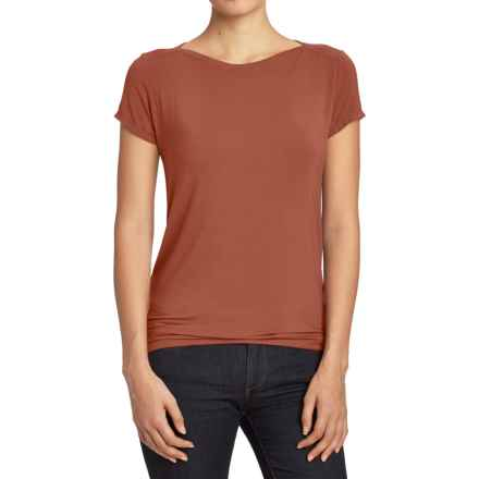 NAU Repose Shirt - Boat Neck, Short Sleeve (For Women) in Redrock - Closeouts