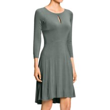 NAU Repose SlitDress - Stretch Micromodal®, Long Sleeve (For Women) in Basalt - Closeouts
