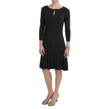 NAU Repose SlitDress - Stretch Micromodal®, Long Sleeve (For Women) in Caviar - Closeouts