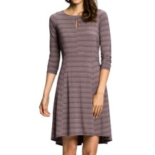 NAU Repose SlitDress - Stretch Micromodal®, Long Sleeve (For Women) in Iris Stripe - Closeouts