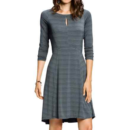 NAU Repose SlitDress - Stretch Micromodal®, Long Sleeve (For Women) in Poseidon Stripe - Closeouts