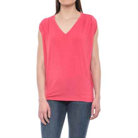 NAU Repose V-Neck Shirt - Stretch Micromodal®, Sleeveless (For Women) in Geranium - Closeouts