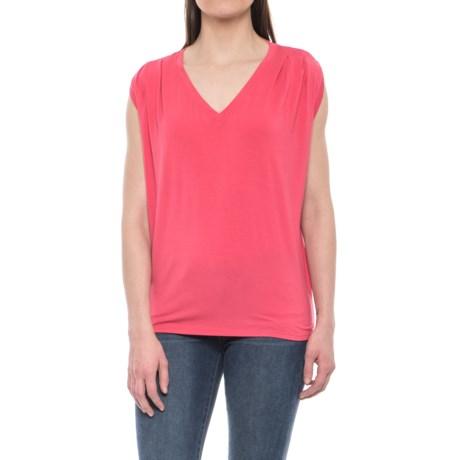 NAU Repose V-Neck Shirt - Stretch Micromodal®, Sleeveless (For Women) in Geranium