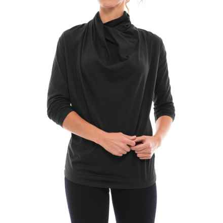 NAU Reposition Shirt - Organic Cotton Blend, Long Sleeve (For Women) in Caviar - Closeouts