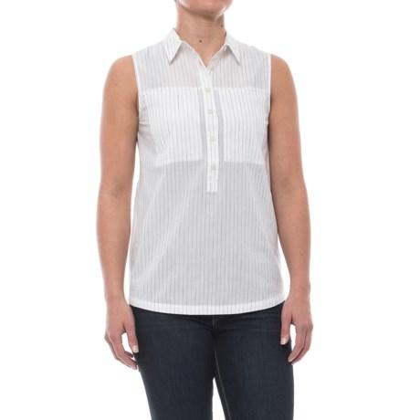 NAU Skipline Slub Shirt - Organic Cotton, Sleeveless (For Women) in Poplar Stripe