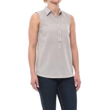NAU Skipline Slub Shirt - Organic Cotton, Sleeveless (For Women) in Sand Stripe