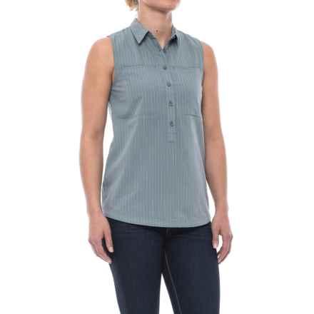 NAU Skipline Slub Shirt - Organic Cotton, Sleeveless (For Women) in Slate Stripe - Closeouts