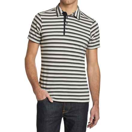 NAU To-Polo-Gy Stripe Polo Shirt - Organic Cotton, Short Sleeve (For Men) in Caviar Stripe - Closeouts