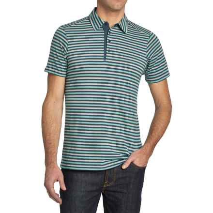 NAU To-Polo-Gy Stripe Polo Shirt - Organic Cotton, Short Sleeve (For Men) in Cosmic Stripe - Closeouts