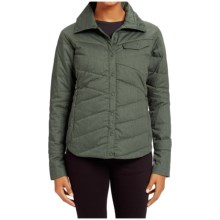 NAU Twill Down Shirt Jacket - Organic Cotton, Snap Front, Long Sleeve (For Women) in Hemlock Heather - Closeouts