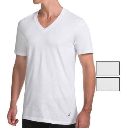 Nautica Cotton V-Neck T-Shirt - 3-Pack, Short Sleeve (For Men) in White - Closeouts