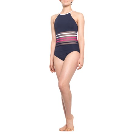f0a31e6207447 Nautica High-Neck Mesh One-Piece Swimsuit (For Women) in Warm