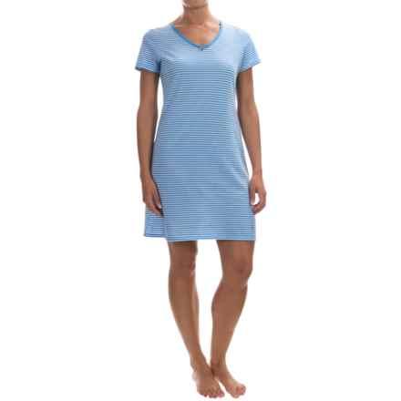 Nautica Jersey-Knit Sleep Shirt - Short Sleeve (For Women) in Azure Blue - Overstock