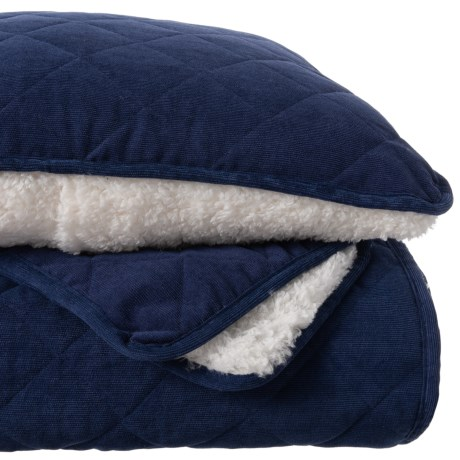 Image of Navy Clarence Corduroy and Sherpa Blanket Quilt Set - Queen