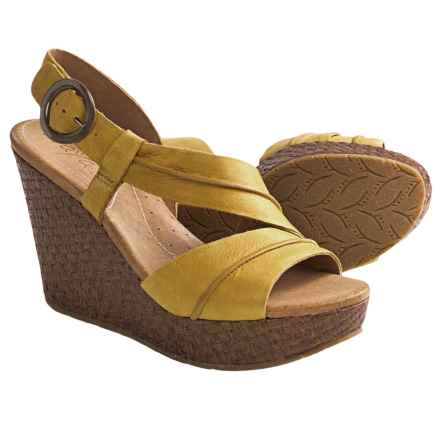 Naya Estra Wedge Sandals (For Women) in Hot Mustard - Closeouts