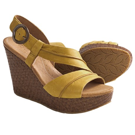 Naya Estra Wedge Sandals (For Women) in Hot Mustard