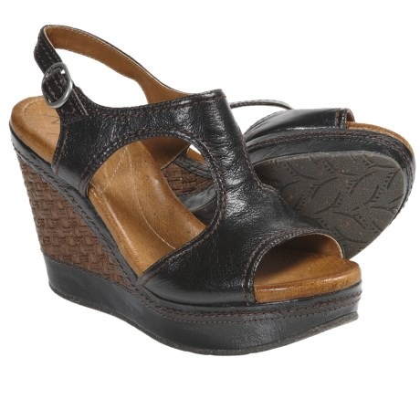 Naya Eternal Wedge Heel Sandals (For Women) in Black