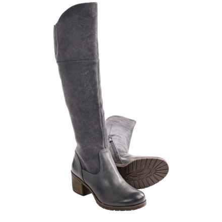 Naya North Wide Shaft Boots - Leather, Over-the-Knee (For Women) in Grey Suede/Leather - Closeouts