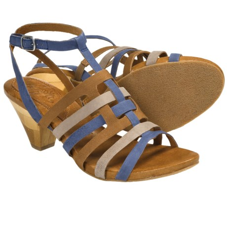 Naya Tatiana Strappy Sandals - Leather (For Women) in Grey Multi