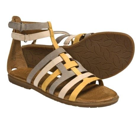 Naya Zamira Gladiator Sandals - Leather (For Women) in Hot Mustard/Taupe/Natural