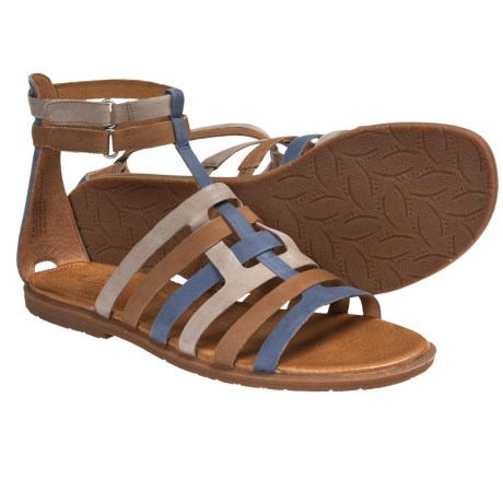 Naya Zamira Gladiator Sandals - Leather (For Women) in Taupe/Natural/Oxford Brown