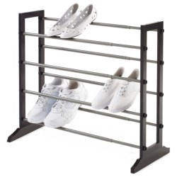 neatfreak!® 4-Tier Expandable/Stacking Shoe Rack in Brown/Silver