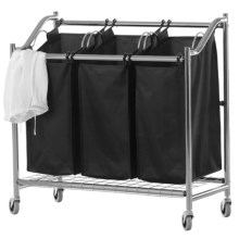 neatfreak! Deluxe Triple Laundry Sorter Cart in Chrome/Black - Closeouts