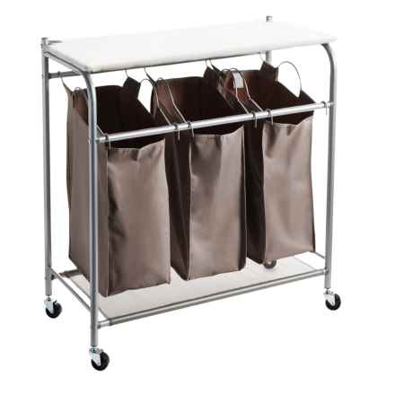 neatfreak!® everfresh® Deluxe Triple Laundry Sorter with Ironing Board in Charcoal Gray - Overstock