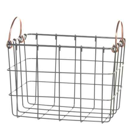 neatfreak! Michael Graves Medium Rectangle Wire Bin - Copper Handles in Grey - Closeouts