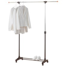 neatfreak! Single Bar Garment Rack - Adjustable in Silver/Black - Overstock