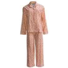 Needham Lane Cotton Pajamas - Long Sleeve (For Plus Size Women) in Clare Orange - Closeouts