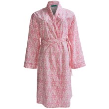 Needham Lane Yarn-Dyed Cotton Robe - Long Sleeve (For Plus Size Women) in Isabella Pink - Closeouts