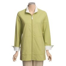 Neon Buddha Adventure Tunic Shirt - Zip Front, Stretch Cotton (For Women) in Palm Green - Closeouts