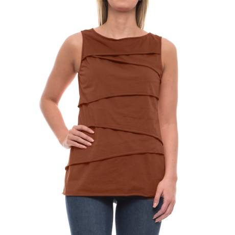 Neon Buddha Ardee Tiered Cotton Tank Top (For Women) in Inza Rust