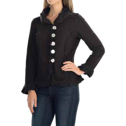 Neon Buddha Carmel Patchwork Ruffled Jacket - Cotton Blend, Button-Up (For Women) in Black - Closeouts