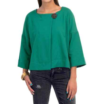 Neon Buddha Charming Jacket - French Terry, 3/4 Sleeve (For Women) in Luxe Emerald - Closeouts