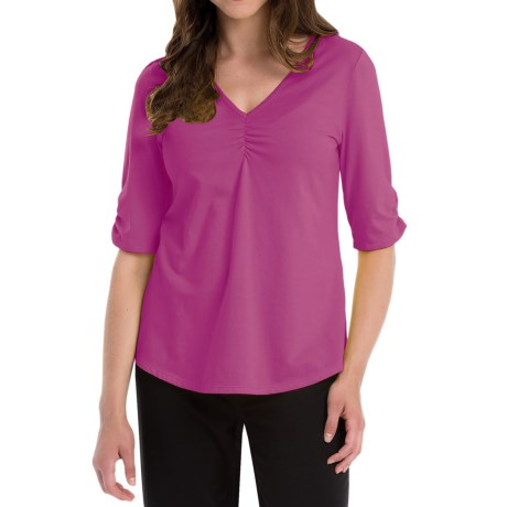 Neon Buddha Clementine Shirt - V-Neck, Elbow Sleeve (For Women) in Exotic Pink
