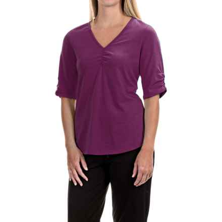 Neon Buddha Clementine Shirt - V-Neck, Elbow Sleeve (For Women) in Exquisite Plum - Closeouts