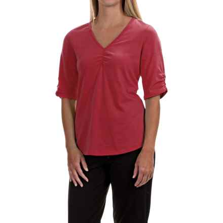 Neon Buddha Clementine Shirt - V-Neck, Elbow Sleeve (For Women) in Red Current - Closeouts