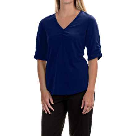 Neon Buddha Clementine Shirt - V-Neck, Elbow Sleeve (For Women) in Royal Jewel - Closeouts