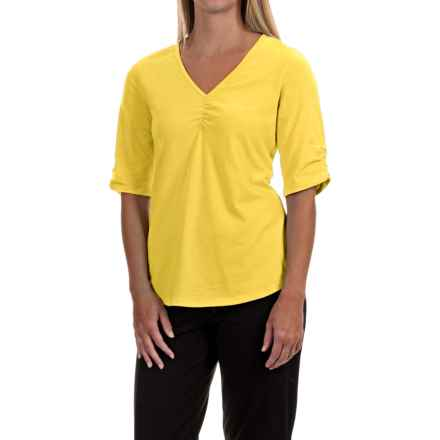 Neon Buddha Clementine Shirt - V-Neck, Elbow Sleeve (For Women) in Sadie Yellow - Closeouts