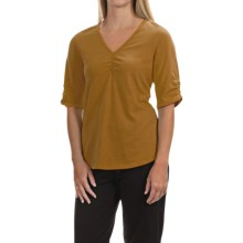 Neon Buddha Clementine Shirt - V-Neck, Elbow Sleeve (For Women) in Turmeric - Closeouts