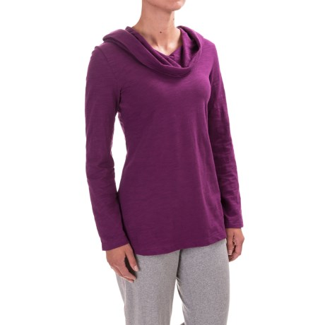Neon Buddha Cowl Neck Hooded Shirt - Long Sleeve (For Women) in Exquisite Plum