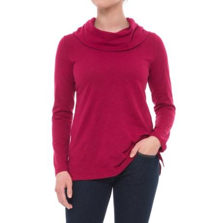 Neon Buddha Cowl Neck Hooded Shirt - Long Sleeve (For Women) in Inspiring Red