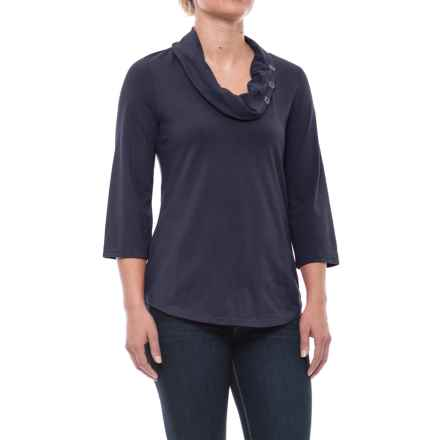 Neon Buddha Cultural Cowl Neck Shirt - 3/4 Sleeve (For Women) in Explorer Navy - Closeouts