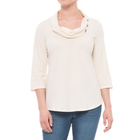 Neon Buddha Cultural Cowl Neck Shirt - 3/4 Sleeve (For Women) in Lovely Cream W/Metal Buttons