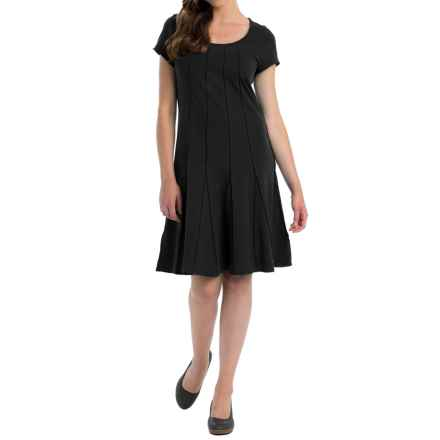 Neon Buddha Daydream Pintuck Dress - Stretch Cotton, Short Sleeve (For Women) in Black - Closeouts