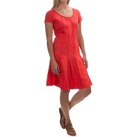 Neon Buddha Daydream Pintuck Dress - Stretch Cotton, Short Sleeve (For Women) in Cosmic Coral - Closeouts