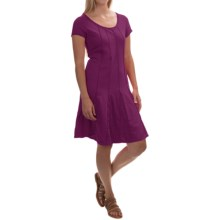 Neon Buddha Daydream Pintuck Dress - Stretch Cotton, Short Sleeve (For Women) in Raven Wine - Closeouts