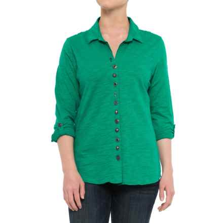 Neon Buddha Eastwood Shirt - Roll-Up Long Sleeve (For Women) in Emerald Sea - Closeouts